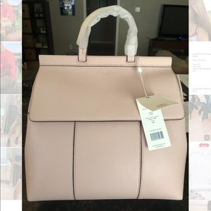 Tory Burch Block-T Shell Pink Leather Backpack
